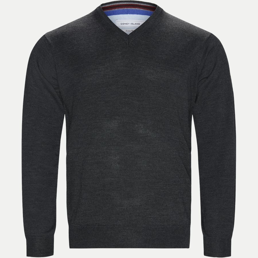 SMARALDA - Smaralda V-Neck Striktrøje - Strik - Regular - CHARCOAL MEL. - 1